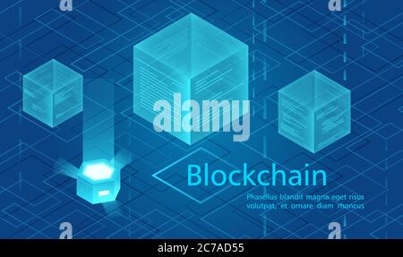 Cryptocurrency and blockchain concept, data powered center, cloud data storage isometric vector illustration. Web design, presentation banner - Stock Photo