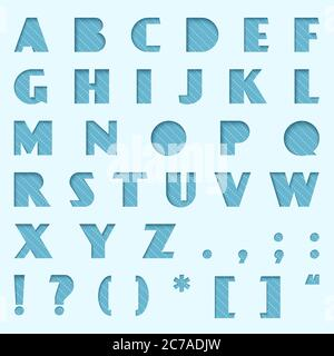 Vector Blue Paper cut alphabet. Cutted from paper font set - Stock Photo