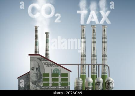 Carbon tax concept with the industrial plant - 3d rendering - Stock Photo