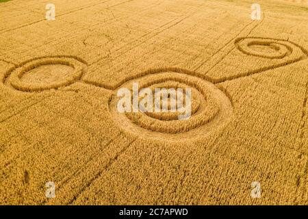 Fake UFO circles on grain crop yellow field, aerial view from drone. Round geometry shape symbols as alien signs, mystery concept.