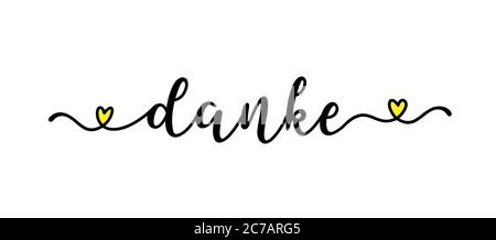 Hand sketched DANKE quote in German as ad, web banner. Translated Thank you. Lettering for banner, header, card, poster, flyer - Stock Photo