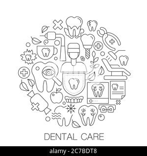 Dental care in circle - concept line illustration for cover, emblem, badge. Dental care thin line stroke icons