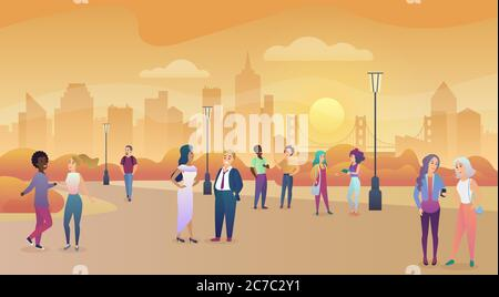 City public park in sunset. People communication, enjoing time vector illustration - Stock Photo