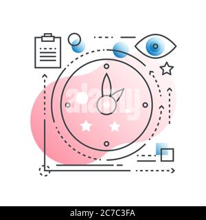Time management vector concept in trendy line style with gradient flat color - Stock Photo