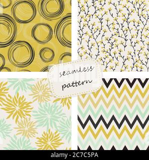 Vintage seamless colorful pattern in retro colors. Hand drawn. Vector pattern can be used for wallpaper, textile, invitation, web page background. - Stock Photo