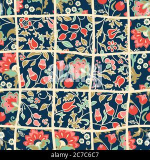 Seamless abstract colorful patchwork pattern from flowers in folk style. Vintage decorative elements. Hand drawn background in retro colors. Vector - Stock Photo