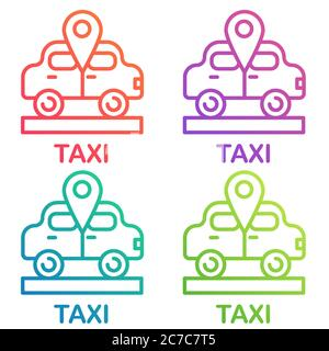 Taxi icon, cab design logo. Taxi point gradient color line icons vector illustration - Stock Photo