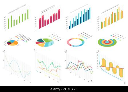 Isometric flat data finance graphic, business finance charts for infographic. Waves graph data, 2d diagram statistics, information columns isolated vector illustration - Stock Photo