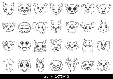 Set of line outline heads of assorted wild and domestic animals in cartoon style vector illustration - Stock Photo