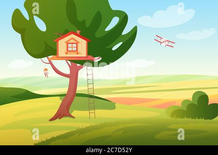 Stylized bright summer rural fields sunny panoramic landscape with a wooden children tree house and ladder, plane. Colorful cartoon style vector illustration
