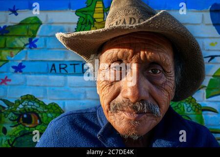 Old man and Wall street art graffiti in Concepción de Ataco Ahuachapán department El Salvador Central America. Ruta De Las Flores, Department Of Ahuac