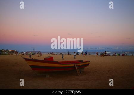 Traditional wooden boats on the beach at sunset, Santa Maria, Sal Island - Stock Photo