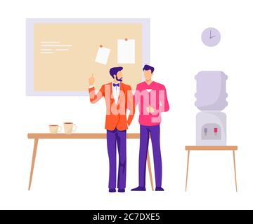 Coworkers friends in office illustration. Two friendly male characters discuss companys new strategy. - Stock Photo