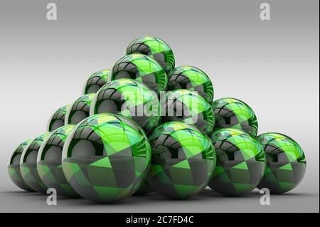 3D pyramid of spheres with a glossy finish and an abstract pattern in the form of geometric shapes