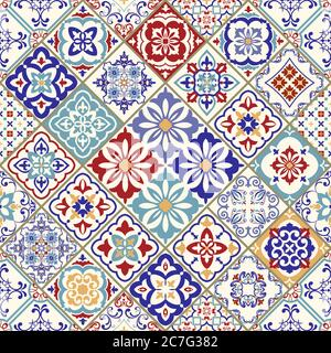 Seamless colorful patchwork in turkish style. Hand drawn background. Azulejos tiles patchwork. Portuguese, Spain decor. Arabic, Indian, ottoman motif.