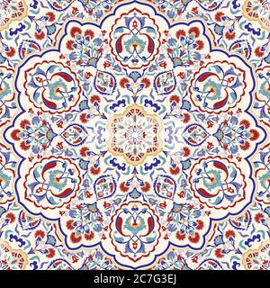 Seamless colorful pattern with mandala. Vintage decorative element. Hand drawn pattern in turkish style. Islam, Arabic, Indian, ottoman motif. Vector. - Stock Photo