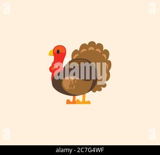 Turkey bird vector isolated illustration. Turkey icon - Stock Photo