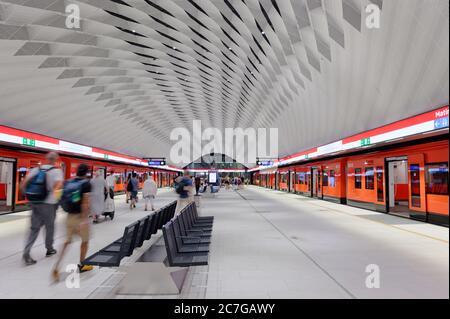 People on the metro station in Helsinki, Finland