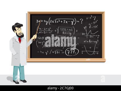 math lesson on blackboard and teacher