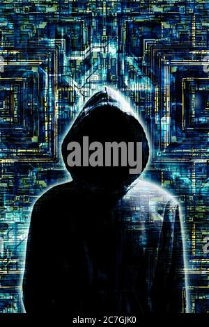 mysterious man in hood as concept for hacker and security issues in the Internet