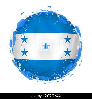 Round grunge flag of Honduras with splashes in flag color. Vector illustration. - Stock Photo