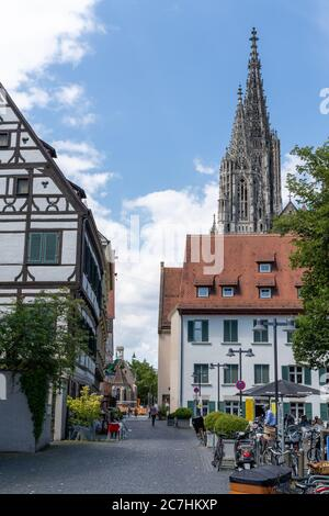 Ulm, BW / Germany - 14 July 2020: view of the minster of Ulm and a narrow street in the historic old town district