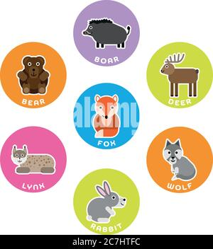 Forest wild animals collection. Set of 7 cartoon characters in the circle with name labels. Vector illustration. - Stock Photo