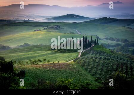 Belvedere and the landscape of the Val d'Orcia (Orciatal), Tuscany, Italy - Stock Photo