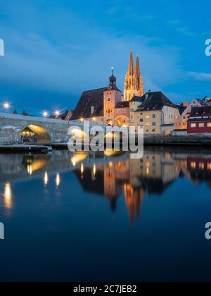 Regensburg, old town, dusk, cathedral, bridge tower, stone bridge, Danube, Bavaria, Germany - Stock Photo