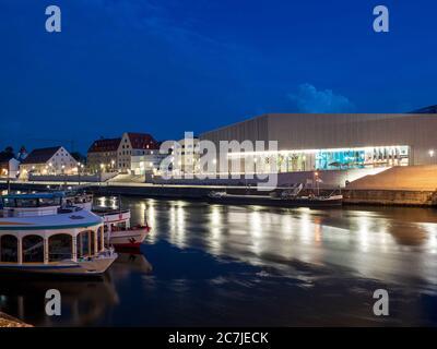 Regensburg, old town, dusk, museum home of Bavarian history, Danube, Bavaria, Germany