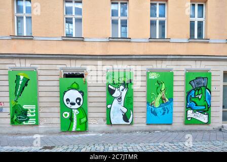 House facade, window painting, vacancy, Ansbach, Franconia, Bavaria, Germany, Europe, - Stock Photo