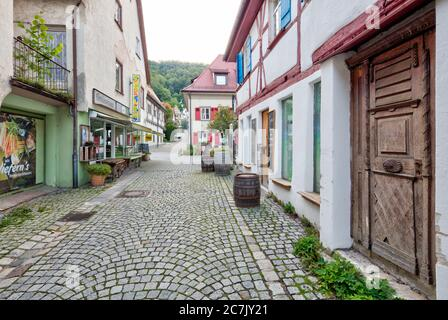 Picturesque alley, house facades, Half-timbered house, idyll, Blaubeuren, Alb-Donau district, Swabian Alb, Baden-Württemberg, Germany - Stock Photo