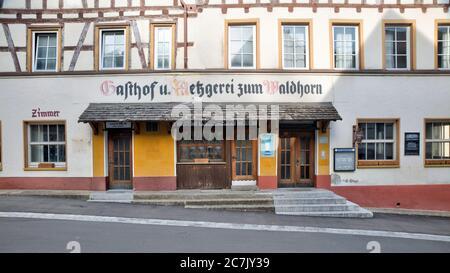 House facade, Window, vacancy, idyll, Blaubeuren, Alb-Donau district, Swabian Alb, Baden-Württemberg, Germany - Stock Photo