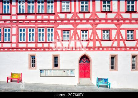 Town hall, entrance, Alte Wage, half-timbering, house facade, Architecture, Wolfram-Eschenbach, Franconia, Bavaria, Germany - Stock Photo