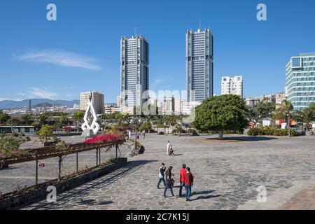 View from the auditorium to the Torres de Santa Cruz, two similar high-rise buildings (120 m) by the architect Julián Valladares Hernández, Santa Cruz de Tenerife, Tenerife, Canary Islands, Spain