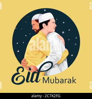 Young Religious Muslim People wishing each other on occasion of Eid, star round frame on yellow background for Islamic Festival celebration. - Stock Photo