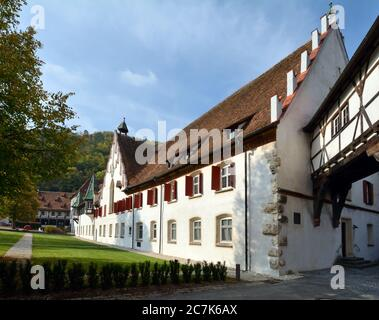 Blaubeuren, Baden-Württemberg, Germany, The Blaubeuren monastery in the half-timbered town of Blaubeuren - Stock Photo