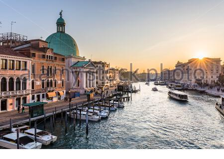 View over the Grand Canal to the dome of the San Simeone Piccolo church at sunset, Sestiere Santa Croce, Venice, Veneto, Italy - Stock Photo