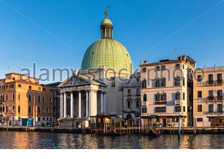 View of the dome of the San Simeone Piccolo church on the Grand Canal in Sestiere Santa Croce, Venice, Veneto, Italy - Stock Photo