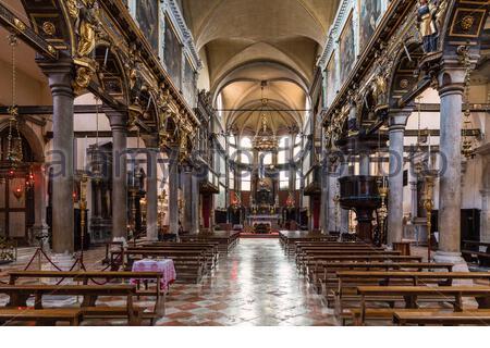 Chiesa di Santa Maria del Carmelo, interior view, Sestiere Dorsoduro, Venice, Venezia, Venice Province, Veneto, Italy - Stock Photo