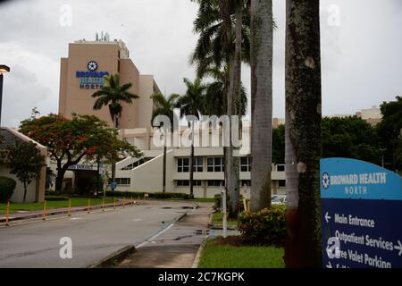 Fort Lauderdale, FL, USA. 17th July, 2020. A general view of Broward Health Hospital as Florida's Department of Health on Friday confirmed 11,000 new cases of COVID-19 in a single day on July 17, 2020 in Fort Lauderdale, Florida. Credit: Mpi04/Media Punch/Alamy Live News - Stock Photo