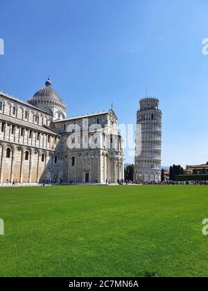 A vertical shot of the famous Pisa tower in Italy - Stock Photo