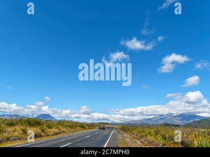 View towards Mount Ngauruhoe and Mount Ruapehu from the SH47, Tongariro National Park, New Zealand - Stock Photo