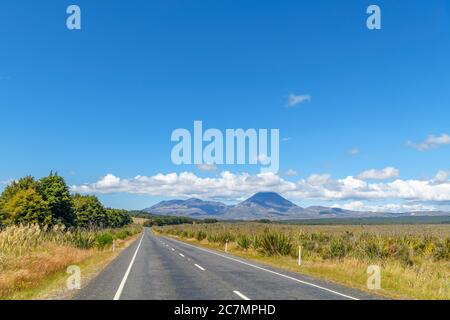 View towards Mount Ngauruhoe from the SH47, Tongariro National Park, New Zealand - Stock Photo