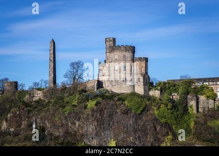 View with Political Martyrs Monument in Old Calton Burial Ground on Calton Hill in Edinburgh, the capital of Scotland, part of United Kingdom - Stock Photo