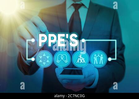 Word writing text Ppe s is. Business photo showcasing Specialized equipment for protection against health and safety hazard Information digital techno - Stock Photo