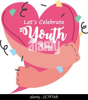 lets celebrate youth day, annual 12 August celebration vector illustration design