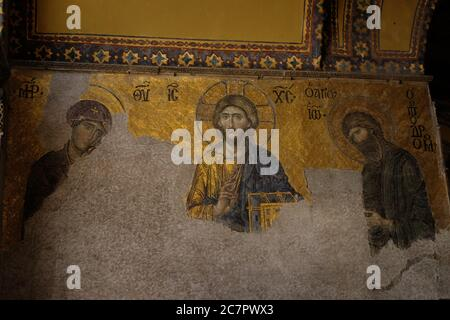 Christian mosaics in Hagia Sofia - The Great Mosque of Ayasofya, built  for Christians,changed to mosque then museum as of 2020 again a mosque. - Stock Photo
