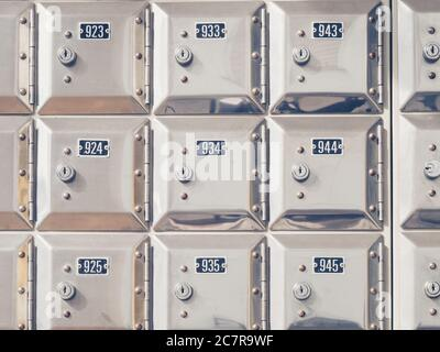 Closeup shot of rows of small silver numbered lockers