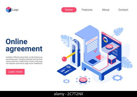 Online agreement vector isometric landing page template. Electronic contract website homepage interface layout. Digital deal. Verification, smart document. E signature web banner, webpage 3D concept